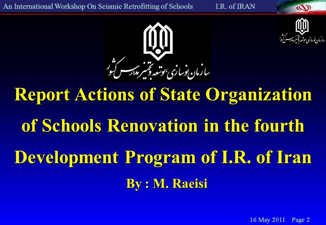 An International Workshop On Seismic Retrofitting of Schools I.R.
