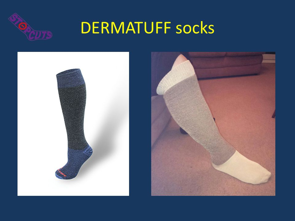 The Socks The protective socks are: Manufactured by Dermatuff Ltd., are CE-marked and registered with the MHRA.