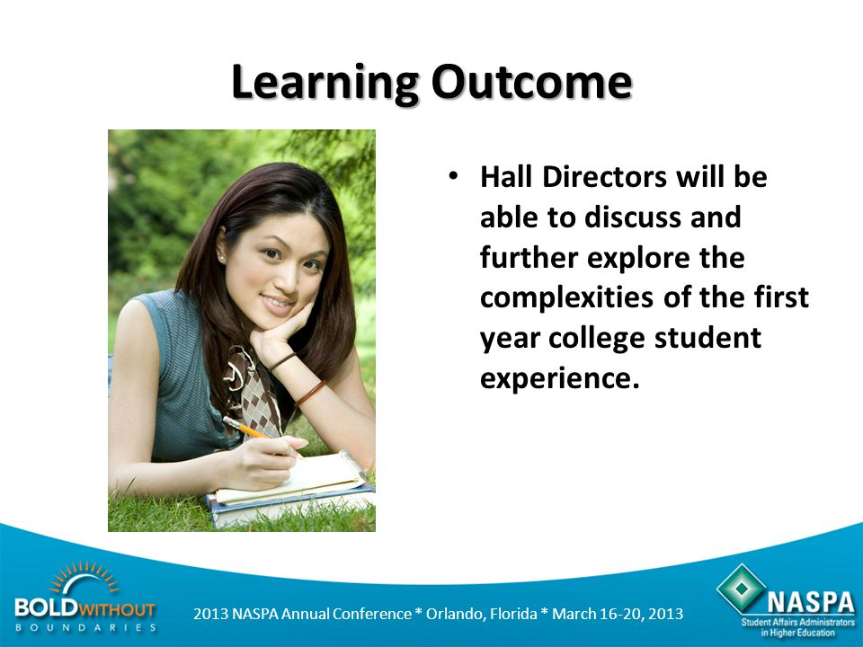 Learning Outcome Hall Directors will be able to discuss and further explore the complexities of the first year college student experience.