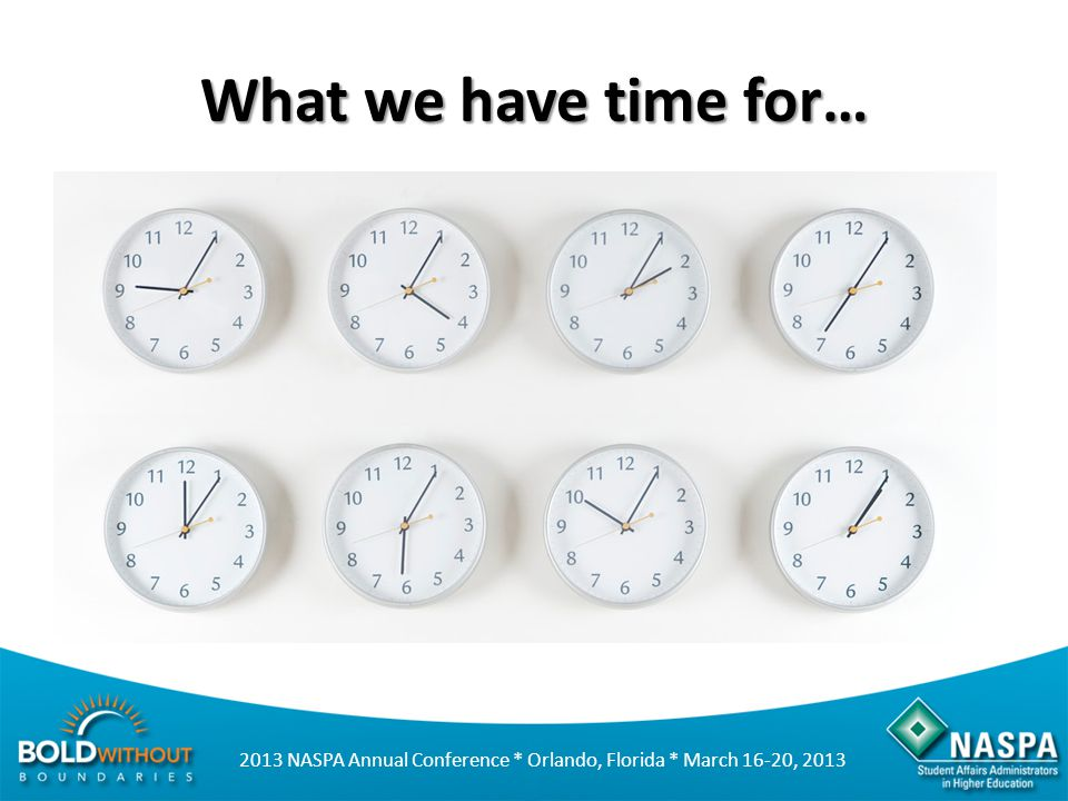 What we have time for…