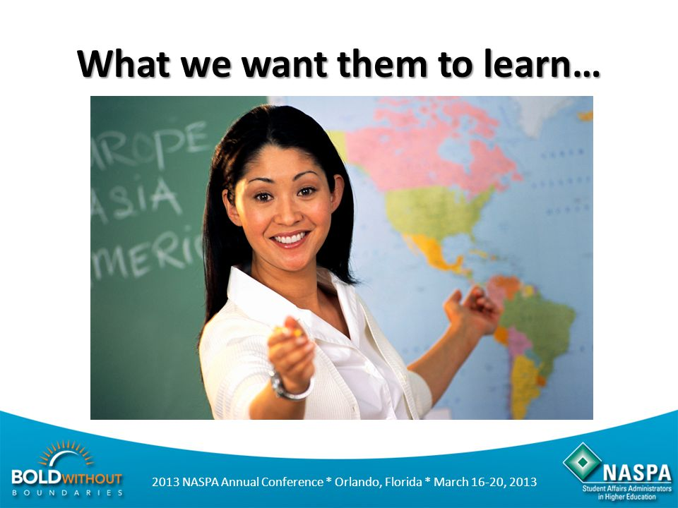 2013 NASPA Annual Conference * Orlando, Florida * March 16-20, 2013 What we want them to learn…
