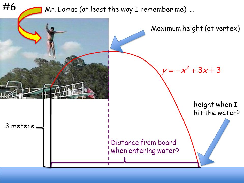 3 meters Maximum height (at vertex) height when I hit the water? Distance from board when entering water? Mr. Lomas (at least the way I remember me) …