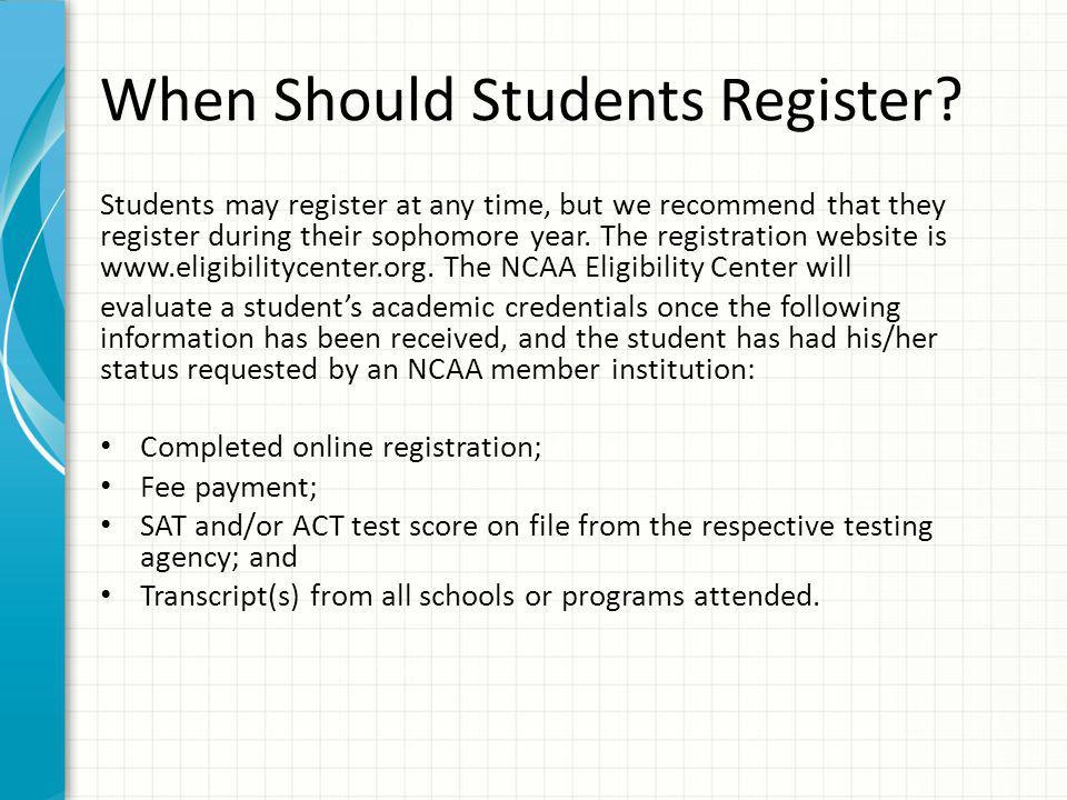 When Should Students Register.