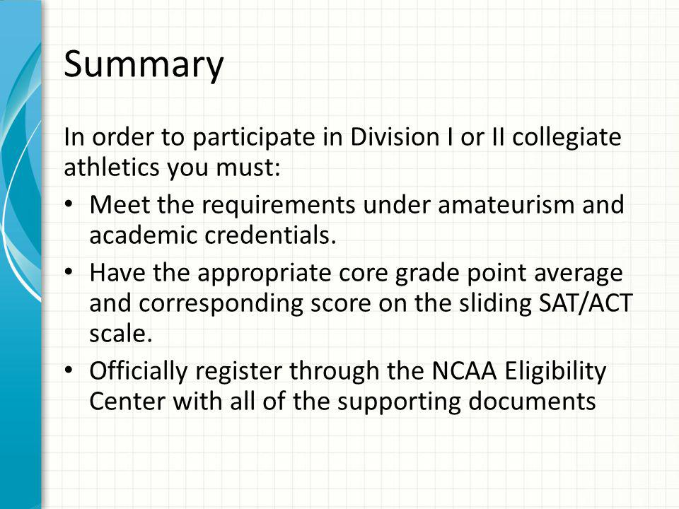 Summary In order to participate in Division I or II collegiate athletics you must: Meet the requirements under amateurism and academic credentials.