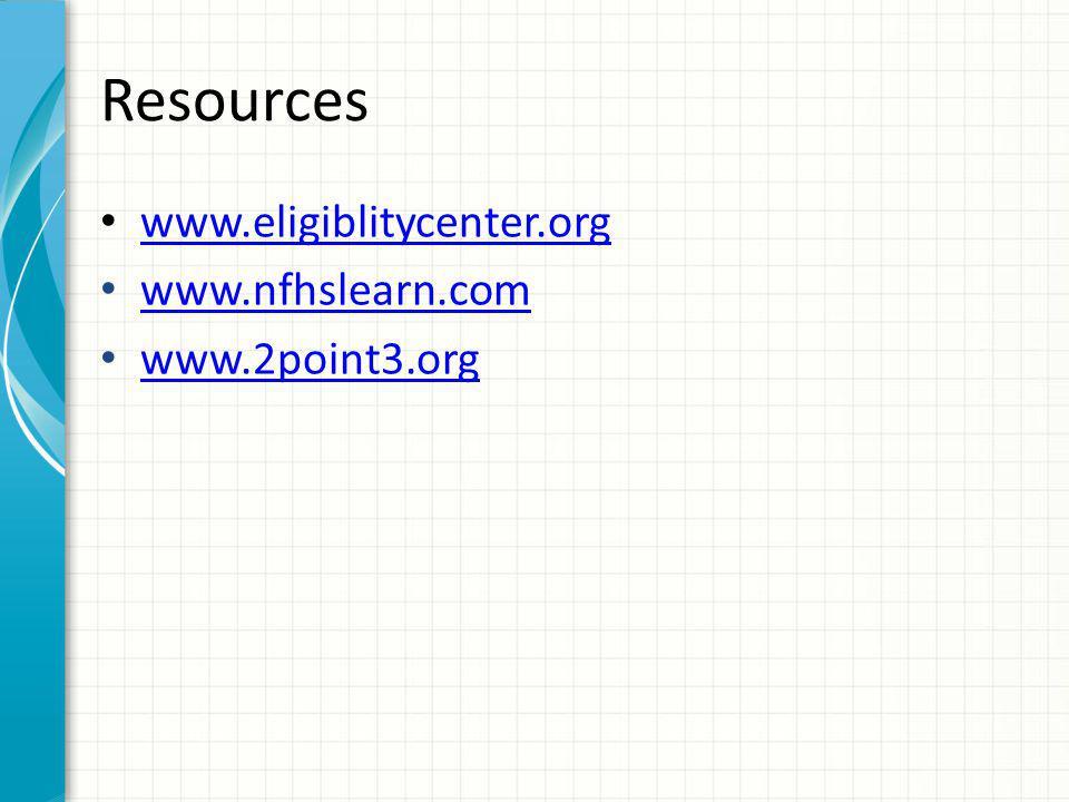 Resources www.eligiblitycenter.org www.nfhslearn.com www.2point3.org