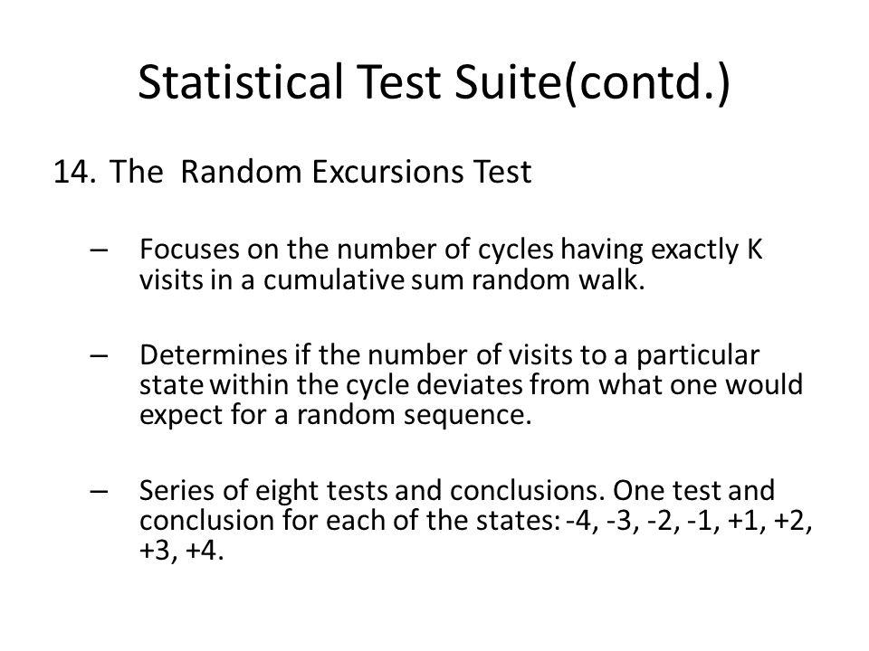 Statistical Test Suite(contd.) 14.