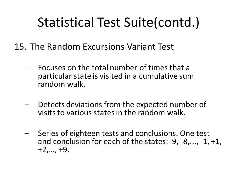 Statistical Test Suite(contd.) 15.