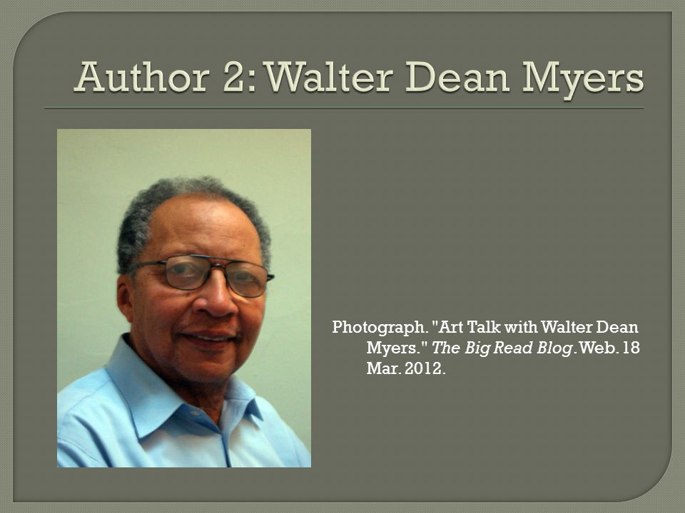 Photograph. Art Talk with Walter Dean Myers. The Big Read Blog. Web. 18 Mar. 2012.