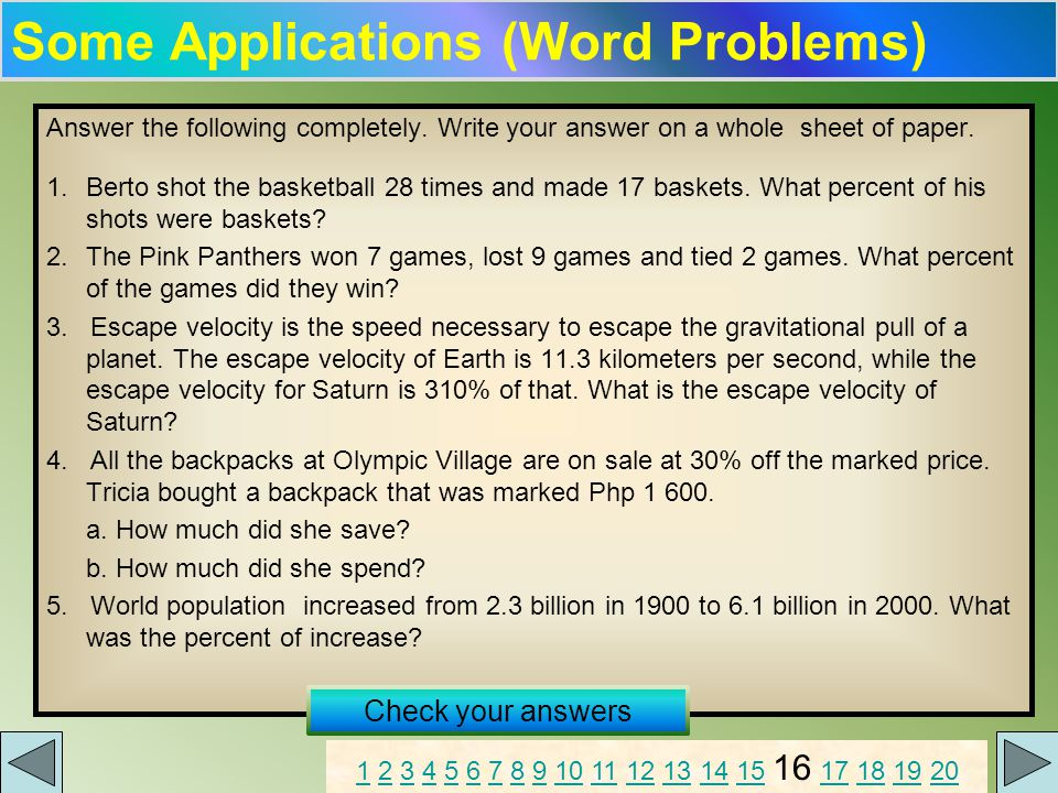 Some Applications (Word Problems) Answer the following completely.