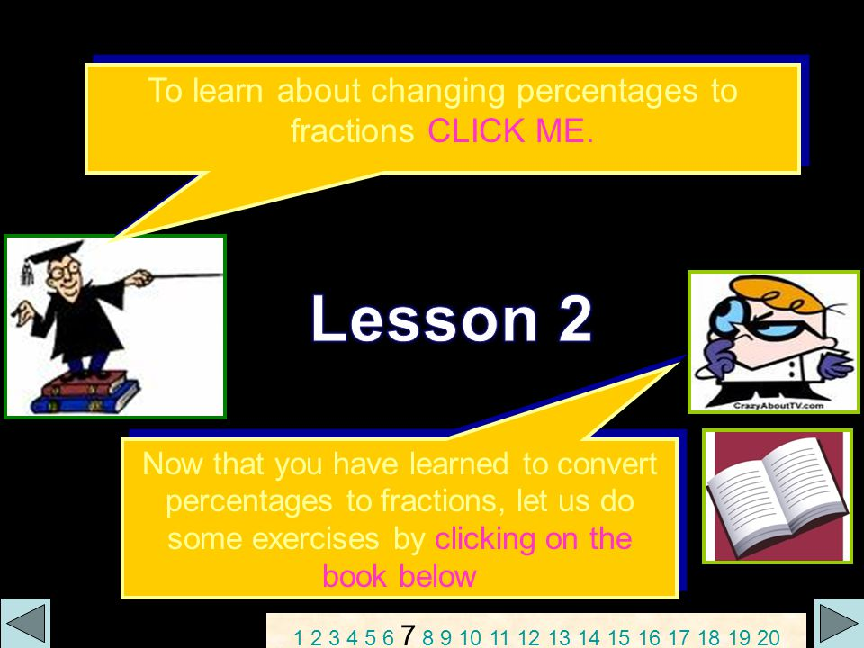 Activity Sheet 2: Convert the following percents to fractions.