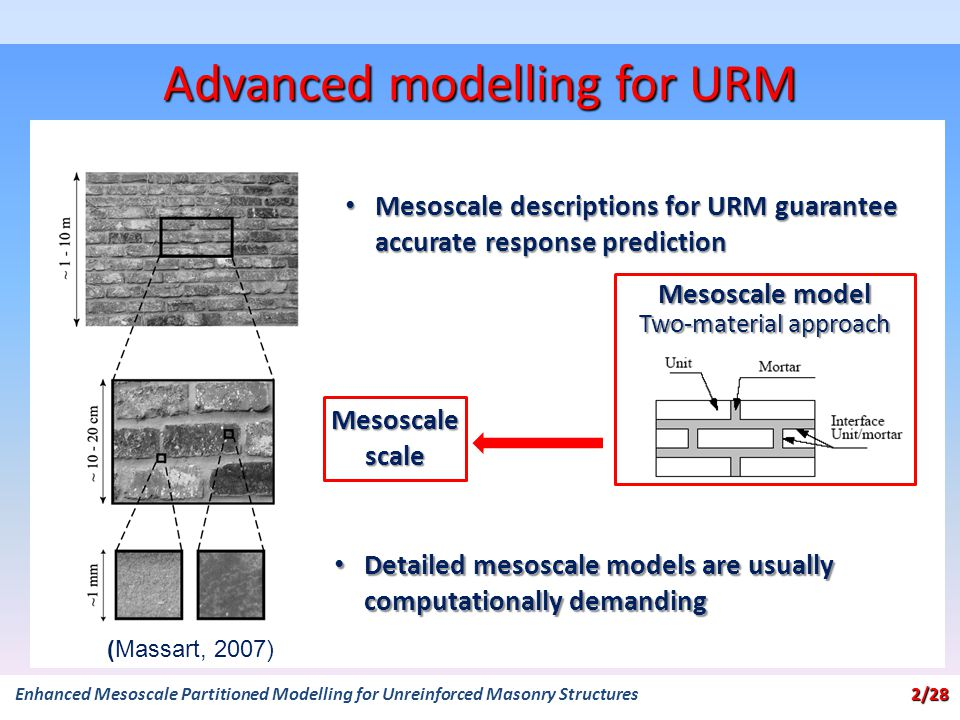 Mesoscale model Two-material approach Mesoscale scale Advanced modelling for URM 2/28 Enhanced Mesoscale Partitioned Modelling for Unreinforced Masonry Structures 2/28 (Massart, 2007) Mesoscale descriptions for URM guarantee accurate response prediction Mesoscale descriptions for URM guarantee accurate response prediction Detailed mesoscale models are usually computationally demanding Detailed mesoscale models are usually computationally demanding
