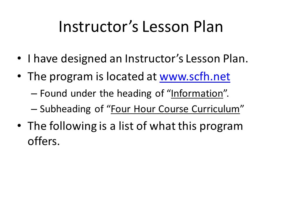 A GUIDE TO INSTRUCTION The CHL is a Serious Subject .