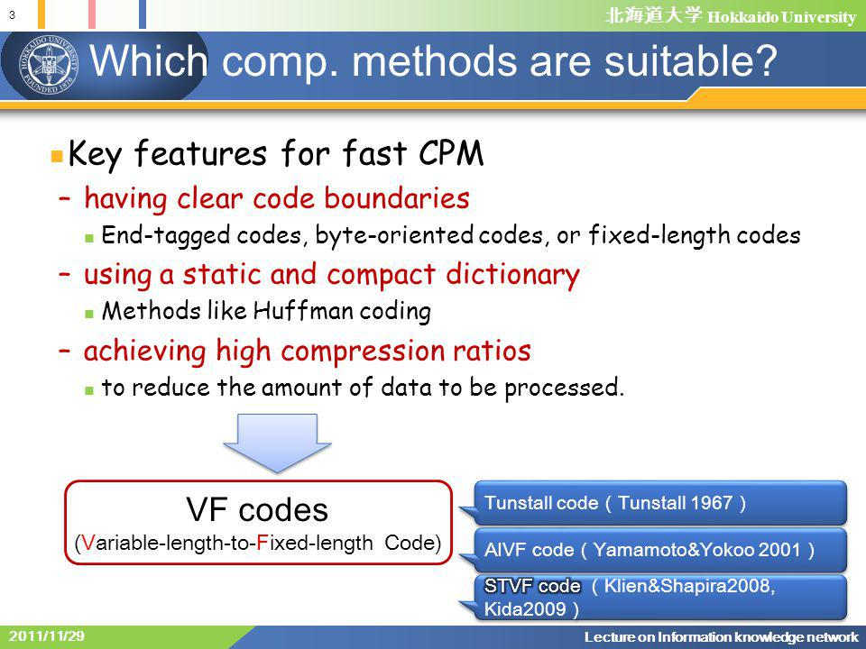北海道大学 Hokkaido University VF code and the others VV codes are the mainstream from comp.