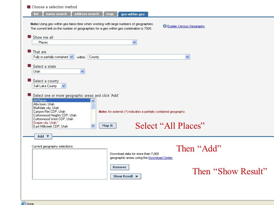Select All Places Then Add Then Show Result