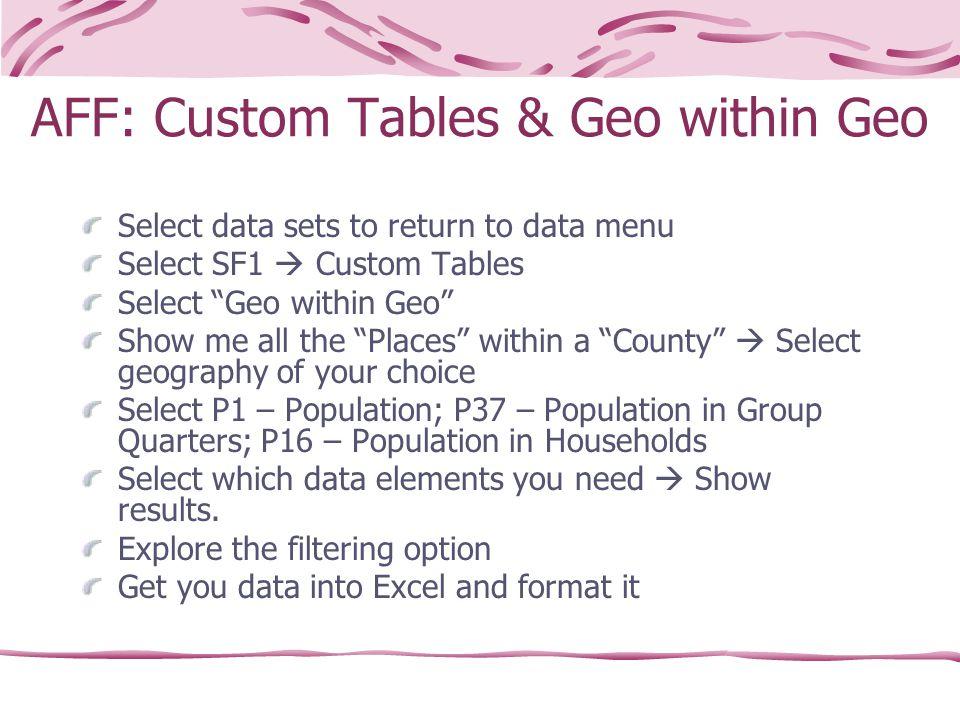 "AFF: Custom Tables & Geo within Geo Select data sets to return to data menu Select SF1  Custom Tables Select ""Geo within Geo"" Show me all the ""Places"