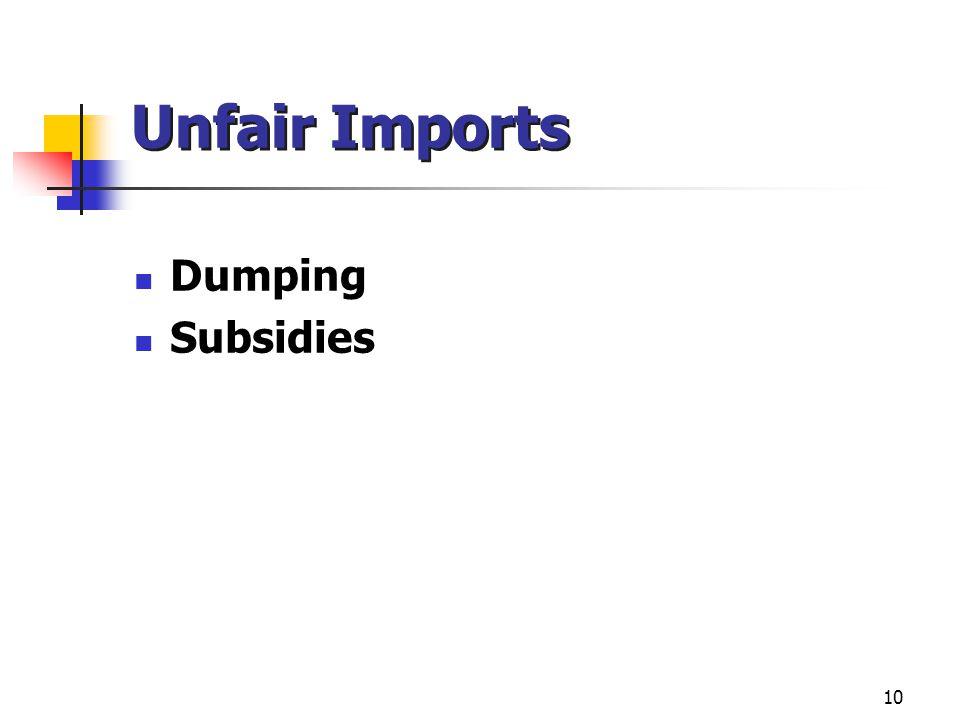 10 Unfair Imports Dumping Subsidies
