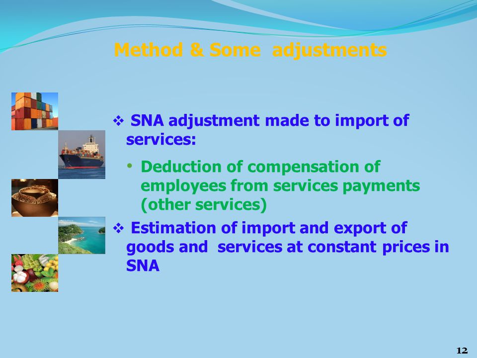  SNA adjustment made to import of services: Deduction of compensation of employees from services payments (other services)  Estimation of import and