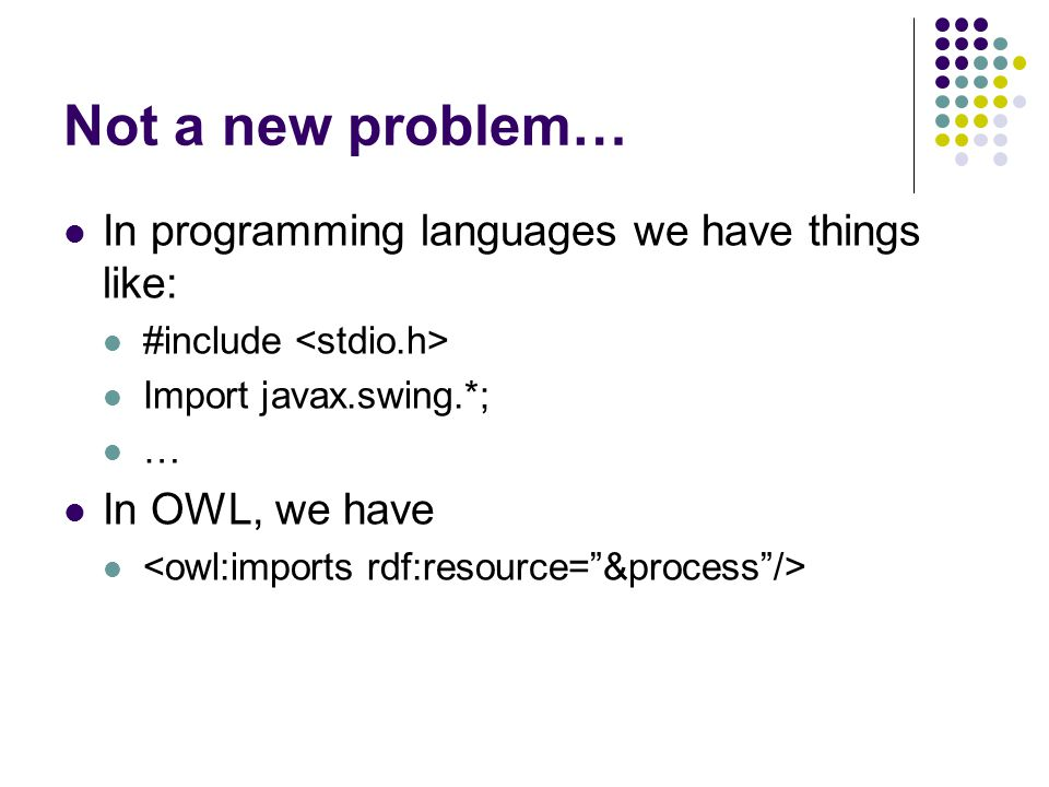 Not a new problem… In programming languages we have things like: #include Import javax.swing.*; … In OWL, we have