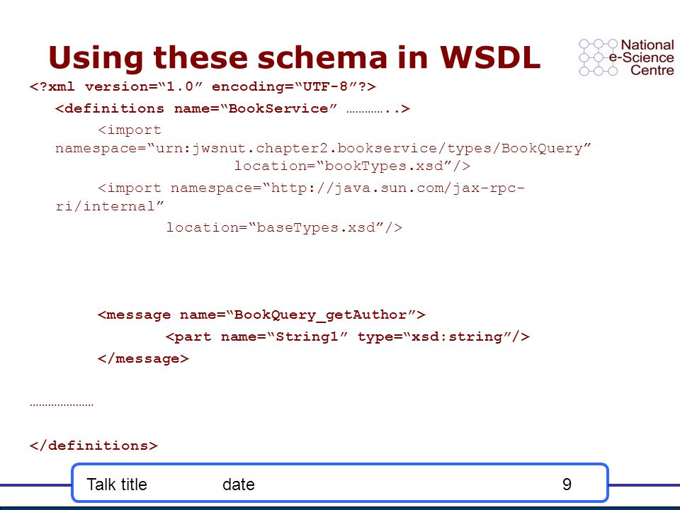 Talk titledate9 Using these schema in WSDL <import namespace= http://java.sun.com/jax-rpc- ri/internal location= baseTypes.xsd /> …………………