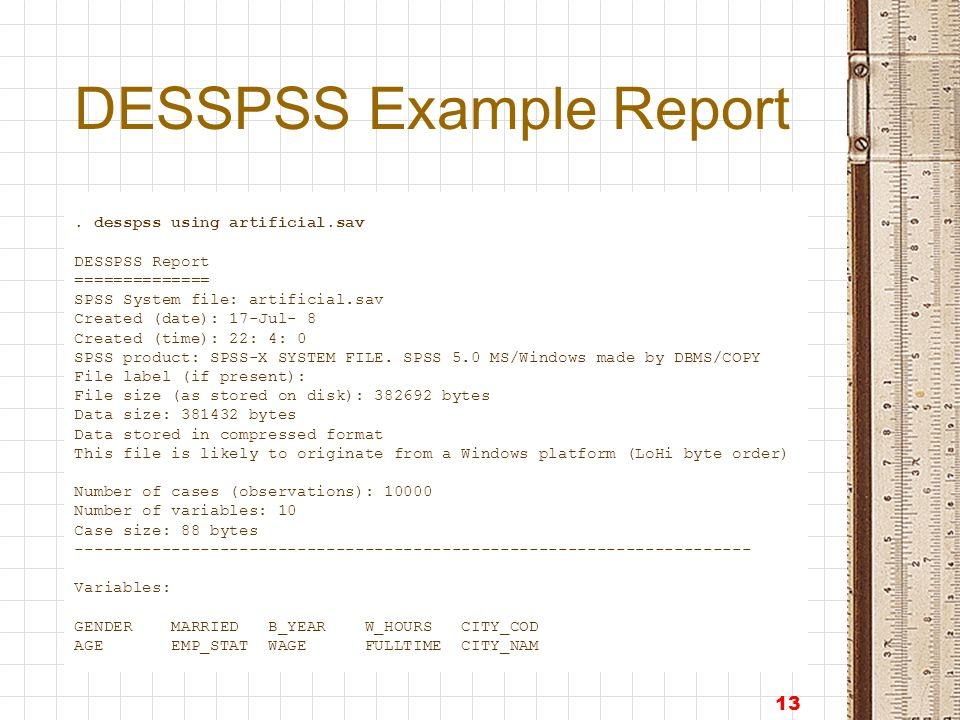 13 DESSPSS Example Report.