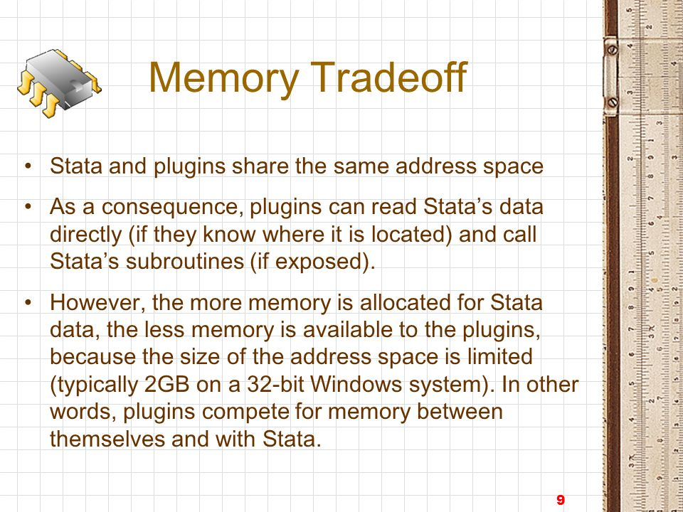 10 Memory Tradeoff Similarly to Stata, usespss attempts to load the whole data file into memory; this speeds up the 2-pass processing (1 st pass – optimization of the storage types, 2 nd pass – actual conversion) But, when user loads the SPSS data Stata data (if any) is discarded.