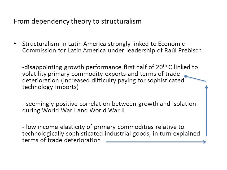 From dependency theory to structuralism Structuralism in Latin America strongly linked to Economic Commission for Latin America under leadership of Raúl Prebisch -disappointing growth performance first half of 20 th C linked to volatility primary commodity exports and terms of trade deterioration (increased difficulty paying for sophisticated technology imports) - seemingly positive correlation between growth and isolation during World War I and World War II - low income elasticity of primary commodities relative to technologically sophisticated industrial goods, in turn explained terms of trade deterioration