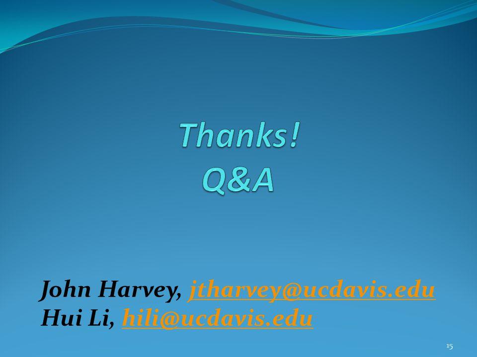 15 John Harvey, jtharvey@ucdavis.edujtharvey@ucdavis.edu Hui Li, hili@ucdavis.eduhili@ucdavis.edu