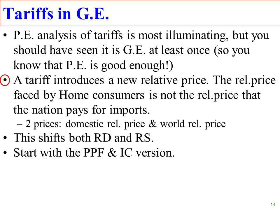 14 Tariffs in G.E. P.E.