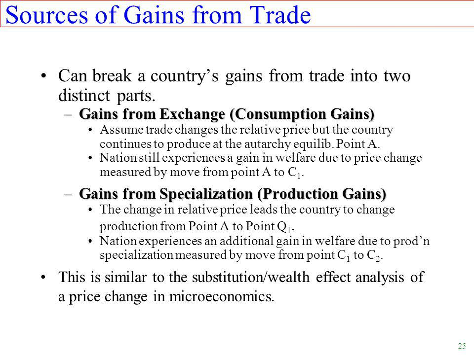 25 Sources of Gains from Trade Can break a country's gains from trade into two distinct parts.