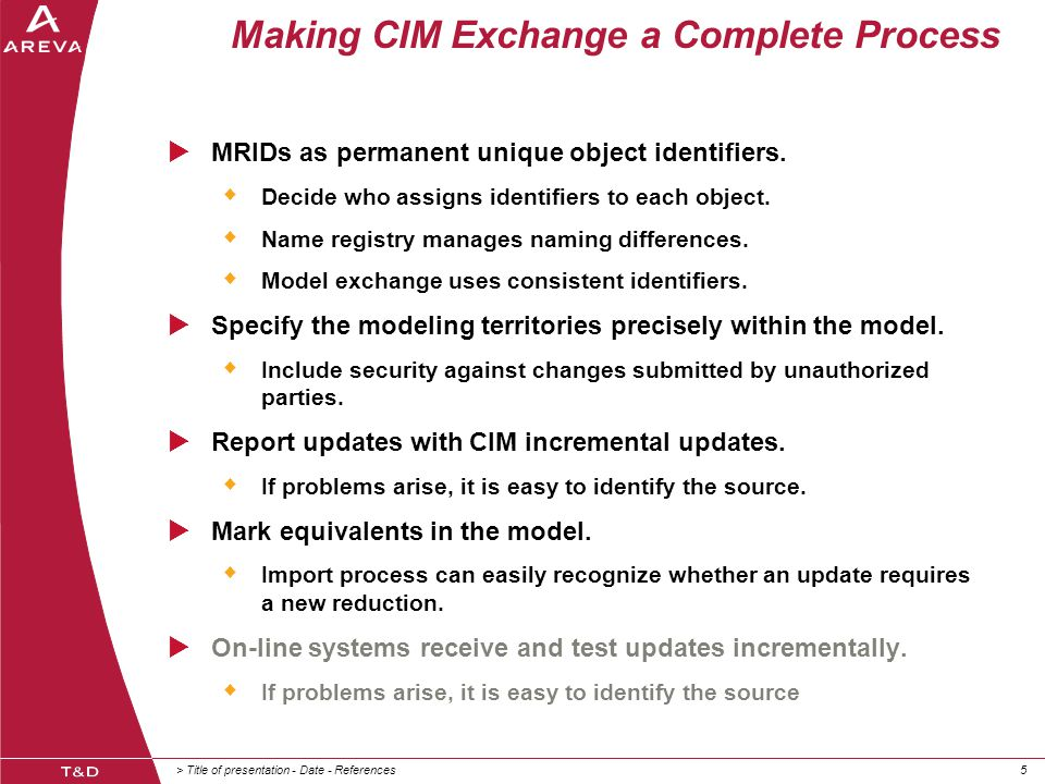 > Title of presentation - Date - References55 Making CIM Exchange a Complete Process  MRIDs as permanent unique object identifiers.