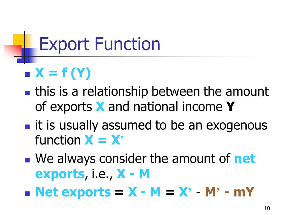 10 Export Function X = f (Y) this is a relationship between the amount of exports X and national income Y it is usually assumed to be an exogenous function X = X ' We always consider the amount of net exports, i.e., X - M Net exports = X - M = X ' - M ' - mY