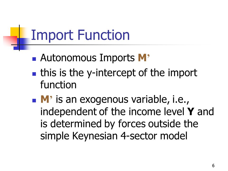6 Import Function Autonomous Imports M ' this is the y-intercept of the import function M ' is an exogenous variable, i.e., independent of the income level Y and is determined by forces outside the simple Keynesian 4-sector model