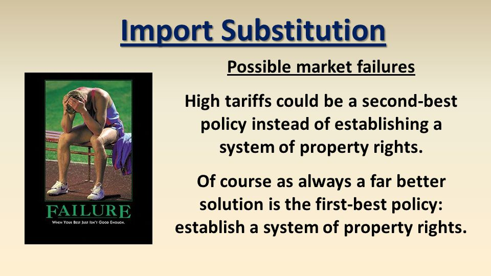 Possible market failures High tariffs could be a second-best policy instead of establishing a system of property rights. Of course as always a far bet