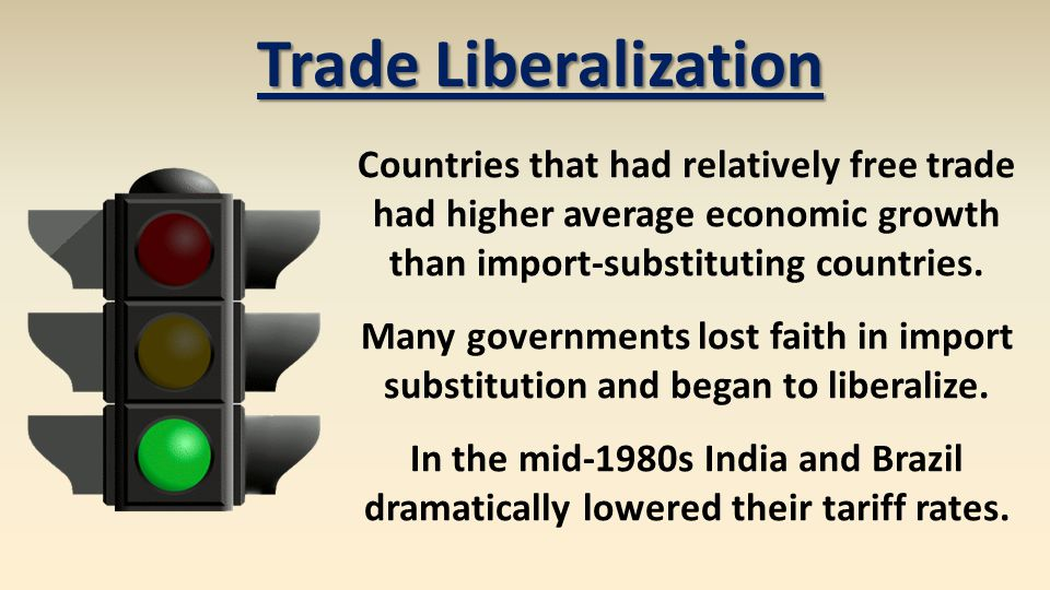 Countries that had relatively free trade had higher average economic growth than import-substituting countries. Many governments lost faith in import