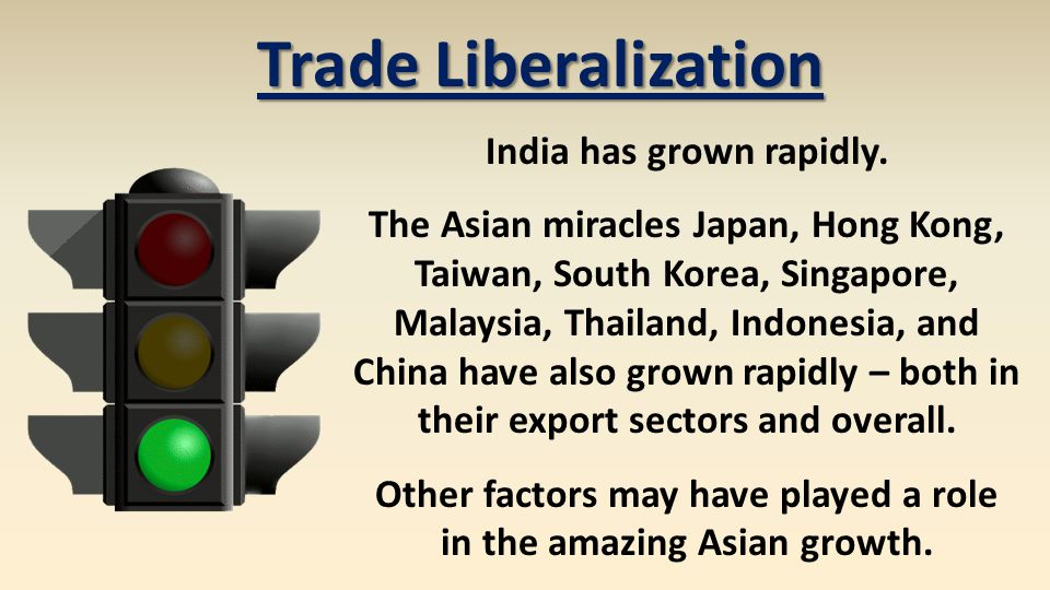 India has grown rapidly. The Asian miracles Japan, Hong Kong, Taiwan, South Korea, Singapore, Malaysia, Thailand, Indonesia, and China have also grown