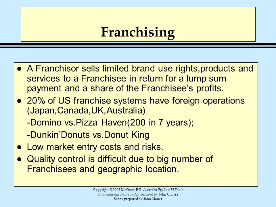 Copyright ©2003 McGraw-Hill Australia Pty Ltd PPTs t/a International Trade and Investment by John Gionea Slides prepared by John Gionea Franchising l