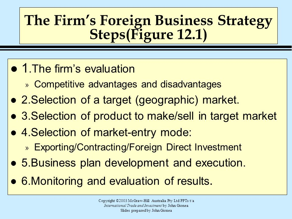 Copyright ©2003 McGraw-Hill Australia Pty Ltd PPTs t/a International Trade and Investment by John Gionea Slides prepared by John Gionea The Firm's For