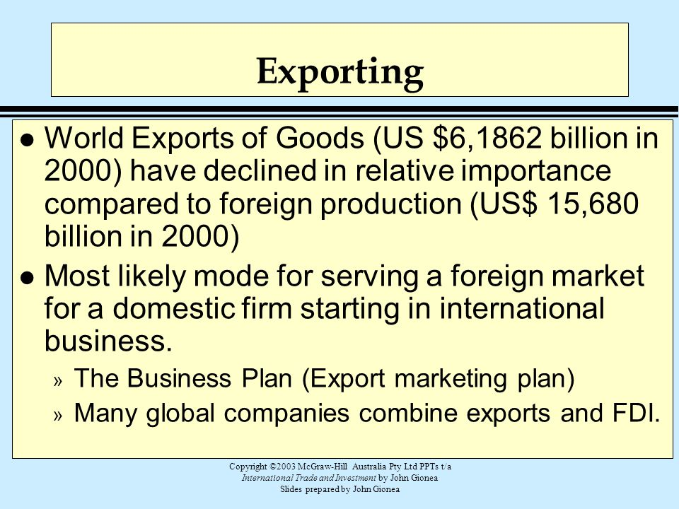 Copyright ©2003 McGraw-Hill Australia Pty Ltd PPTs t/a International Trade and Investment by John Gionea Slides prepared by John Gionea Exporting l Wo
