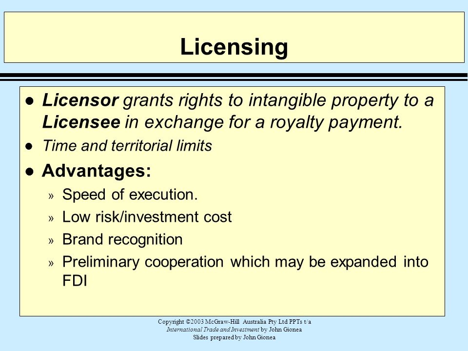 Copyright ©2003 McGraw-Hill Australia Pty Ltd PPTs t/a International Trade and Investment by John Gionea Slides prepared by John Gionea Licensing l Li