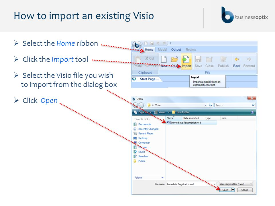How to import an existing Visio  Select the Home ribbon  Click the Import tool  Select the Visio file you wish to import from the dialog box  Clic