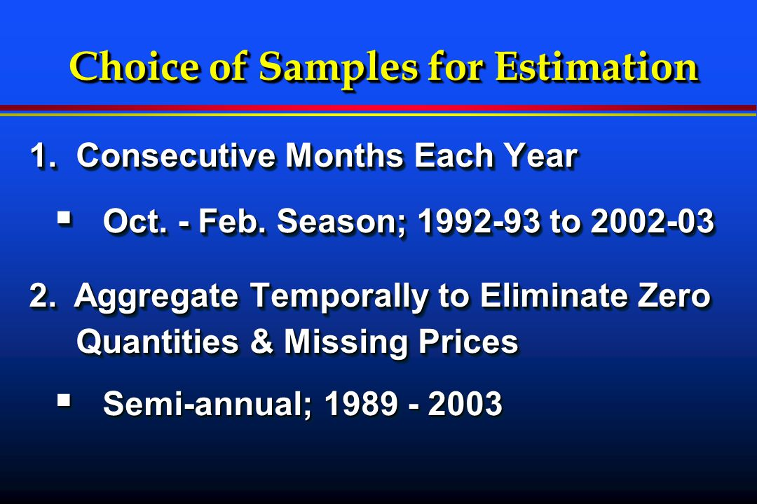 Choice of Samples for Estimation 1. Consecutive Months Each Year  Oct.