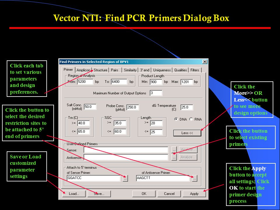 Vector NTI: Find PCR Primers Dialog Box Click the More>> OR Less<< button to see more design options Save or Load customized parameter settings Click each tab to set various parameters and design preferences.