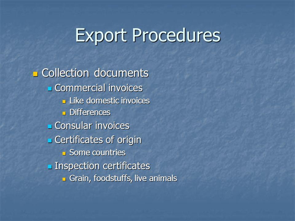 Export Procedures Collection documents Collection documents Commercial invoices Commercial invoices Like domestic invoices Like domestic invoices Diff