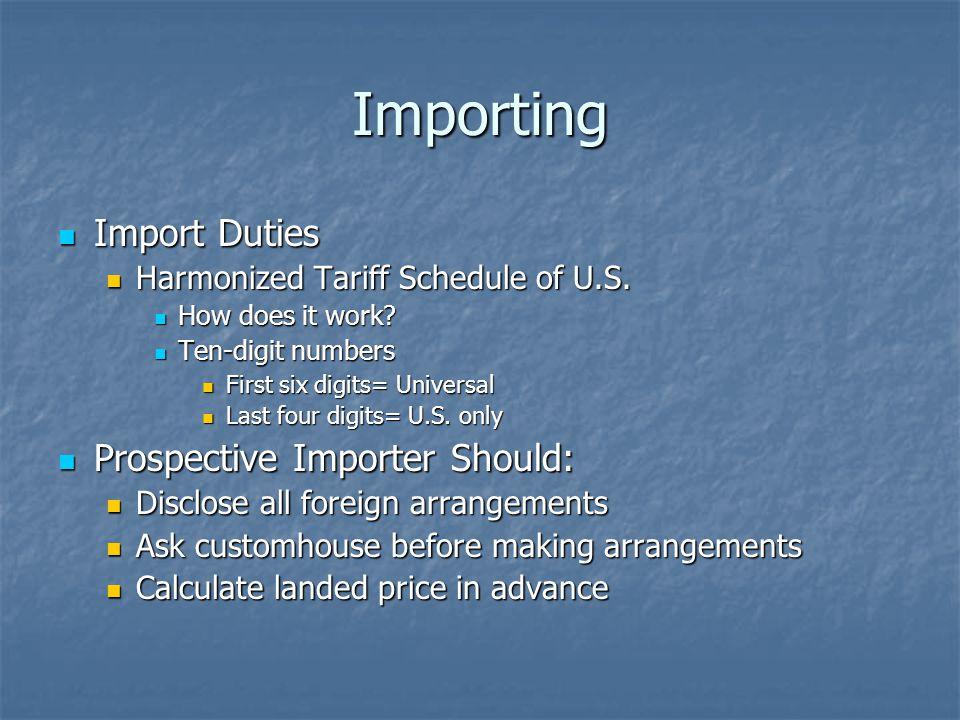 Importing Import Duties Import Duties Harmonized Tariff Schedule of U.S. Harmonized Tariff Schedule of U.S. How does it work? How does it work? Ten-di