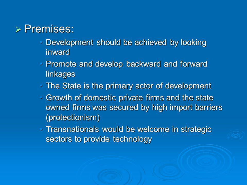  Premises: Development should be achieved by looking inwardDevelopment should be achieved by looking inward Promote and develop backward and forward
