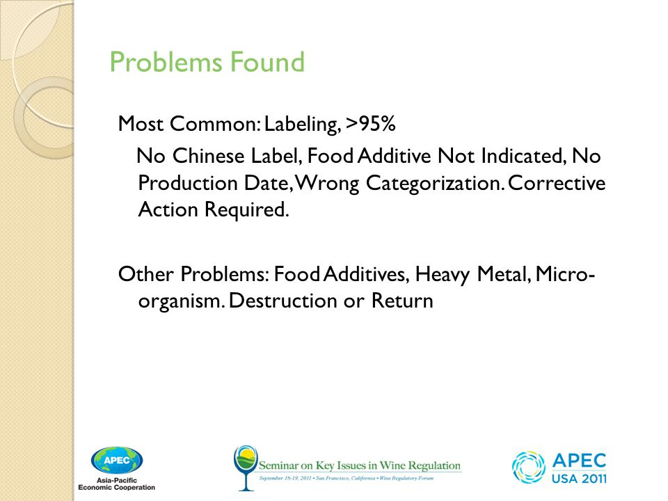 Problems Found Most Common: Labeling, >95% No Chinese Label, Food Additive Not Indicated, No Production Date, Wrong Categorization.