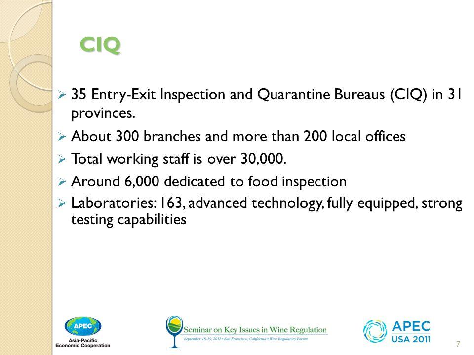 CIQ  35 Entry-Exit Inspection and Quarantine Bureaus (CIQ) in 31 provinces.