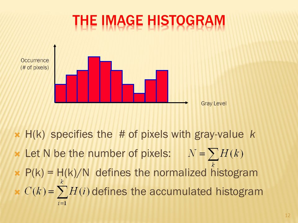  H(k) specifies the # of pixels with gray-value k  Let N be the number of pixels:  P(k) = H(k)/N defines the normalized histogram  defines the acc