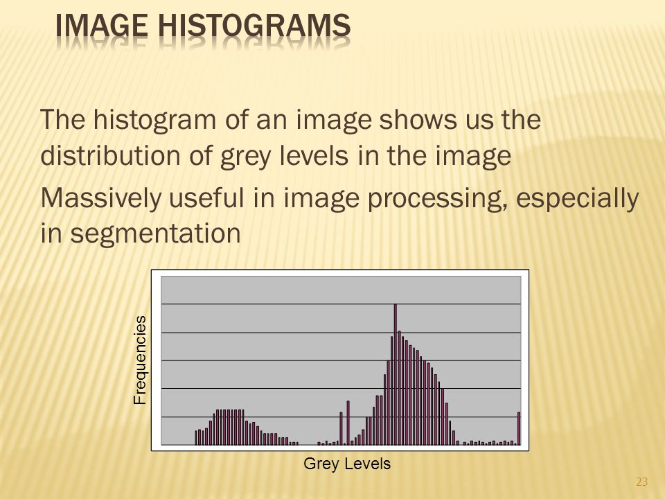 The histogram of an image shows us the distribution of grey levels in the image Massively useful in image processing, especially in segmentation Grey