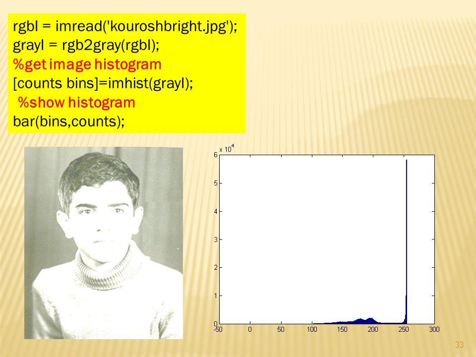 rgbI = imread('kouroshbright.jpg'); grayI = rgb2gray(rgbI); %get image histogram [counts bins]=imhist(grayI); %show histogram bar(bins,counts); 33